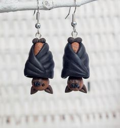 Bat Earrings, Polymer Clay Bat Earrings, Handmade Clay Bat Earrings, Flying Fox Earrings, Animal Clay Earrings, Halloween Earrings, Bat Clay by TessClayEarrings on Etsy https://www.etsy.com/listing/493453262/bat-earrings-polymer-clay-bat-earrings
