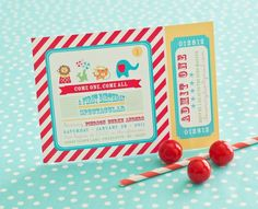 circus party printable invitation-$18