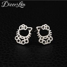 Real Pure 925 Sterling Silver Hollow Cute Cat Earrings For Women Girls Gift Hot Sale Fashion sterling-silver-jewelry
