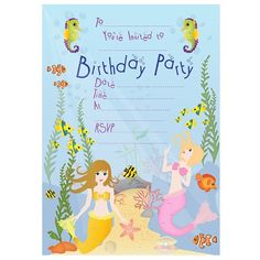 Mermaid Invitations - FREE downloadable PDF. Great for Mermaid party