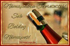 Díszes pezsgő névnapi képeslap férfiaknak