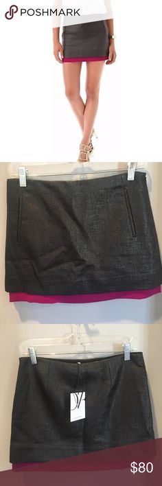 DVF // elley mini black/berry Never worn, still with the tags! Awesome DVF skirt with fuchsia/berry (could be removed) underlay for a pop of color over black weave texture that gives off a light shine. The perfect mini skirt! Diane Von Furstenberg Skirts Mini