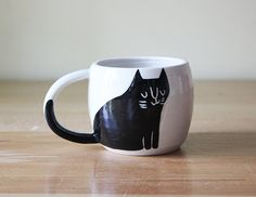 Ready to ship: Double Espresso Cup with Cat in Black by Beardbangs