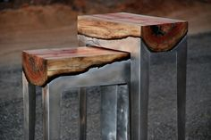 Wood and aluminum stools and tables