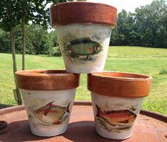 THREE FINE FISH  <*)))))::< --- Rustic Country Vintage Clay Garden Pots