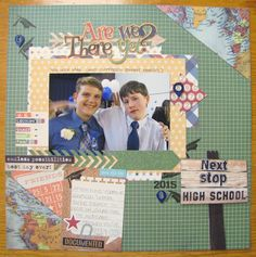 Layout created with cut files from Pretty Paper, Pretty Ribbons and papers from Simple Stories Smarty Pants line. Travel Scrapbook Pages, Vacation Scrapbook, School Scrapbook, 12x12 Scrapbook, Scrapbook Sketches, Scrapbook Page Layouts, Scrapbooking Ideas, Best Day Ever, Card Making