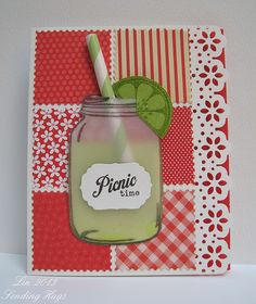 Summer Picnic by bearpaw - Cards and Paper Crafts at Splitcoaststampers Atc Cards, Card Tags, I Card, Mason Jar Cards, Mason Jars, Patchwork Cards, Sending Hugs, Embossed Cards, Artist Trading Cards
