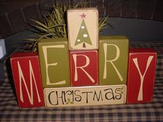 christmas wood crafts | MERRY CHRISTMAS Santa Tree Wood Sign Shelf Blocks … | Wood craft id … | Creative Expressions