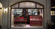 A pair of red pianos showered with cutout hearts for Valentine's day! Store Fronts, Jukebox, Hearts, Windows, Shower, Red, Pianos, Rain Shower Heads, Showers