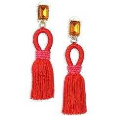 Oscar de la Renta Silk Tasseled Drop Earrings (221.280 CRC) ❤ liked on Polyvore featuring jewelry, earrings, apparel & accessories, poppy, poppy jewelry, oscar de la renta, tassel drop earrings, poppy jewellery and drop earrings