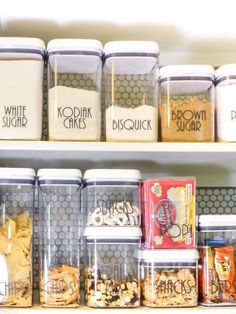 move dry foods from their packaging into stackable glass containers more storage space you