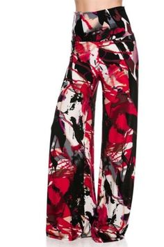 GORGEOUS FALL BLEND GRAPHITTI PALAZZO PANTS-AUTUMN SPLASH!