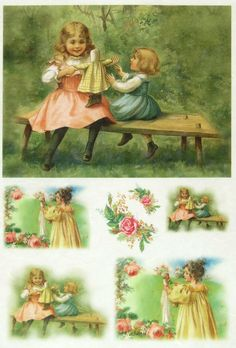 Ricepaper / Decoupage paper, Scrapbooking Sheets Little Girls 2