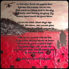 """100 years ago today, Canadian military doctor and artillery commander Major John McCrae wrote possibly the most famous piece of literature of WW1. His words led to the creation of remembrance poppies which are now an international symbol of remembrance around the world including the UK, Canada, United States, Australia, New Zealand, South Africa and many other countries, due to the reference to poppies growing over the graves of fallen soldiers. Painting: """"Fields Of Remembrance"""" by J. Hurley"""