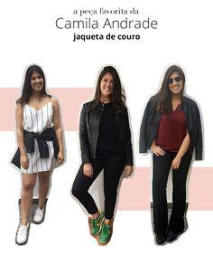 Look stealer Camila Andrade escolhe jaqueta de couro como sua peça preferida e mostra 3 formas de como usar.