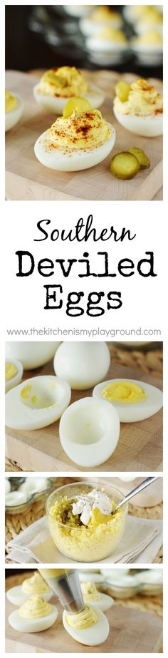 Classic Southern Deviled Eggs ~ always a potluck and party favorite. www.thekitchenismyplayground.com