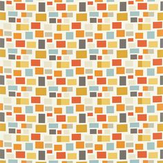 Scion - Melinki Two Fabrics collection. An assortment of multi coloured blocks offset against a plain background resulting in a fun retro-geometric look.