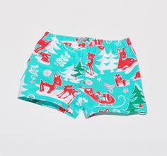 Christmas Shorts Deer Outfit Xmas Teal, Red Pink Woodland Baby Child Children Shorts Pants by ShellsStitchesEtsy on Etsy