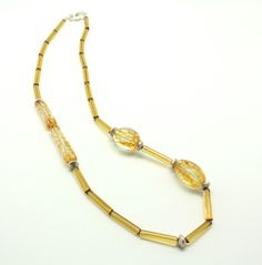 'Waves', amber transparent necklace ON SALE at www.madineurope.eu - #handmade #necklace #murano #glassbeads #amber #transparentglass #glass #accessories #summervogue #fashion #shoppingonline