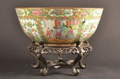 "Very Large Canton Famille Rose Medallion Punch Bowl with Stand. Size : 16"" dia."