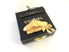 Authentic Chanel Beret Gold Tone Pin Brooch, Made in France   #CHANEL #vintageCHANELearrings #vintageCHANELbrooch #vintageCHANEL #farfetch #CCbrooch #vintageCCbrooch