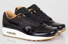 """The Nike Air Max 1 FB Woven """"Leopard"""" - Black & Metallic Gold is available now at shops including SNS."""