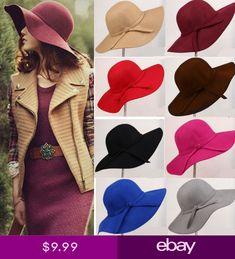 US Fall Outdoor Womens Lady Cap Wide Brim Floppy Hat Vintage Bowknot Felt  Hats 24f770b1581e