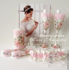 """Купить Свадебный набор """"Шебби-шик"""" - бледно-розовый, свадьба, свадебные бокалы, свадебный набор"""