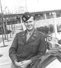 """Lt. Robert Perdue. """"After Veghel I was out of action for about 4 months and missed the Battle of the Bulge. I rejoined my regiment at the town of Haguenau. We lobbed artillery and mortar shells at the Germans and they did the same to us. I was told that two nights later I would take out a patrol. At the last minute, plans changed and the patrol was led by a Lieutenant with the Recon Platoon, a recent West Point graduate. And he was killed before the patrol reached the other side of the…"""