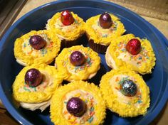 Easter cupcakes, with Reese's peanut butter eggs.