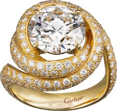 Solitaire ring Yellow gold, diamond