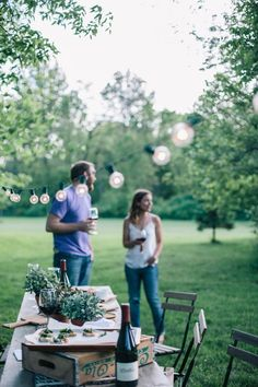 Celebrations in the backyard with canapes and wine