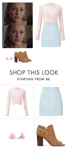 """""""Betty Cooper - riverdale"""" by shadyannon ❤ liked on Polyvore featuring Miss Selfridge, Balmain and Sam Edelman"""