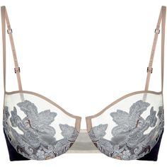 La Perla Moonlight Balconette Bra ($530) ❤ liked on Polyvore featuring intimates, bras, lingerie, bra, tops, dark blue, transparent bra, dark blue lingerie, balconette bra and transparent lingerie