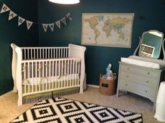 baby boy nursery travel, explorer, adventure theme ikea rug, wall map, banner, repainted dresser, grey dress, lime green knobs, target toy basket, hanging airplanes