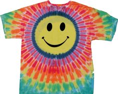 Pastel tie dye smiley face t shirt.  An awesome shirt in youth sizes.