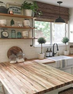 44 ideas farmhouse kitchen butcher block counter wooden countertops for 2019 # block Kitchen Sink Design, Farmhouse Sink Kitchen, Rustic Kitchen, Country Kitchen, Farmhouse Style, Farmhouse Decor, Industrial Farmhouse, Farmhouse Ideas, White Farmhouse