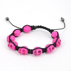 Skull Heads Friendship Bracelet - Pink