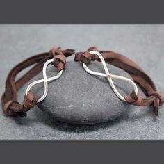 Leather infinity couple bracelet~