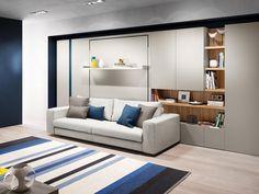 Tango,il sistema trasformabile composto da divano,letto matrimoniale a scomparsa. Guarda la proposta completa di armadi e scaffali.