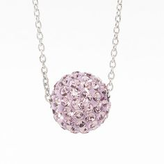 "Light Amethyst crystal Ceralun™ pavé ball swings on a delicate rhodium plated chain; 15"" to 18"".#june#birthstone"