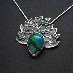 Mangrove forests - silver pendant with chrysocolla and glass enamel - available on Etsy #silver #jewelry #handmade #unique #OOAK 3silverjewellery #metalwork #gemstonejewelry #necklace