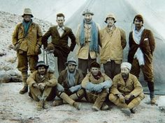Members of the 1924 Everest expedition team pose for a photograph before commencing their climb from base camp. Back row, left to right: Andrew Irvine, George Mallory, Edward Norton, Noel Odell, and John Macdonald. Front row: Edward Shebbeare, Geoffrey Bruce, Howard Somervell, and Bentley Beetham    Photograph from the John Noel Collection
