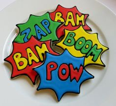 Superhero decorated cookie favors1 dozen by SayitwithHeart on Etsy, $42.00