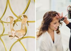 Bride getting her hair curled and blush bow heels.