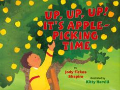 We read Up, Up, Up! It's Apple-Picking Time by Jody Fickes Shapiro and Kitty Harvill. It was a wonderful books about apple picking and the many different kinds of apples and colors. What you need: brown construction paper, glue, apple Apple Unit, Apple Books, Apple Activities, Book Activities, Classroom Activities, Classroom Ideas, Preschool Books, Preschool Apples, Apple Theme