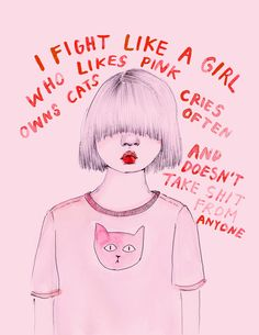 I fight like a girl Art Print by Ambivalently Yours via society6