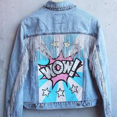 "Denim jacket ""WOW"". Hand painted in Pop Art style, decorated with fringe and rhinestones.100% COTTON.:"