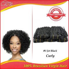 Cheap Virgin curly hair 5pcs/lot Queen hair products Brazilian virgin hair weave Human deep curly hair Free shipping jet black  $102.08 - 276.71