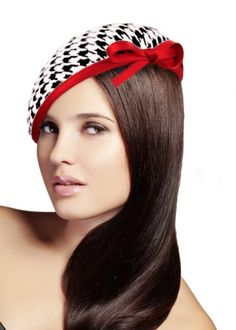 Amazon.com: Houndstooth Beanie Fascinator - L12 Black/White/Red: Clothing
